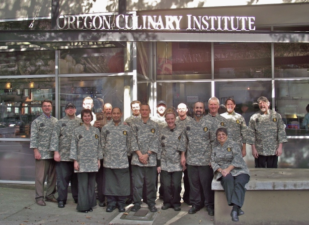 Oregon Culinary Institute Chef Instructors in fatigues sent by U.S. Soldiers from Idaho National Guard